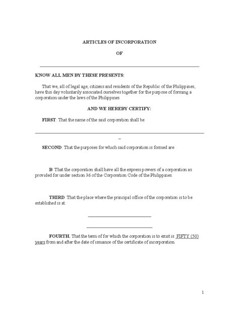 articles of incorporation template excellent template articles of incorporation contemporary