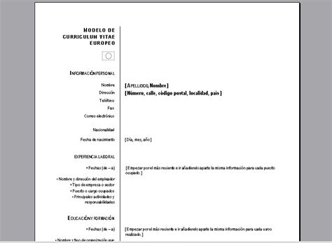 Modelo De Curriculum Vitae Europeo Para Rellenar En Word Descargar Formato De Curriculum Vitae Para Llenar