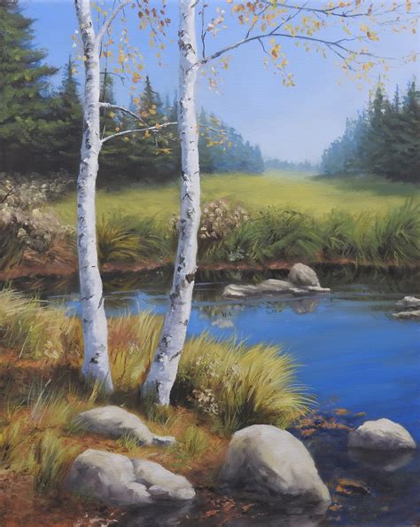 bob ross painting birch trees oils archives easel journeys