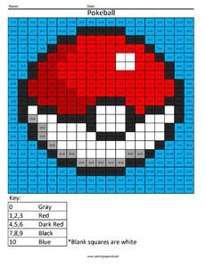 pokemon coloring pages math pokeball practice addition coloring squared