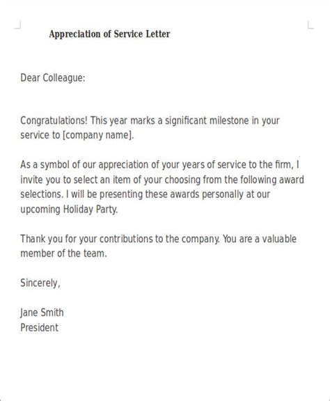 Service Letter Sle For Employees employee sle letter of appreciation 28 images