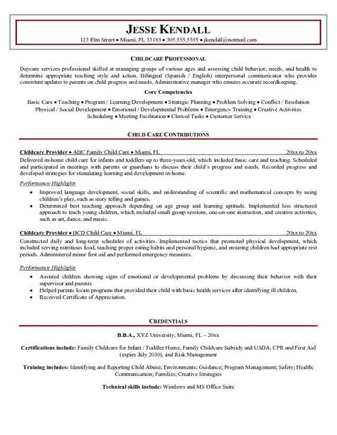 child care assistant resume exle childcare provider resume
