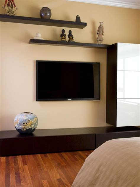 floating shelves around flat screen tv design pictures