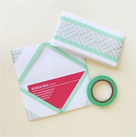 Origami Business Cards - origami business card holder with washi details
