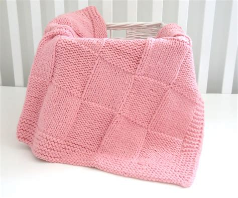 Patchwork Blanket Knitting Pattern - handmade knitted patchwork blanket 30 x36 inch pink