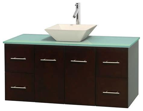 Glass Vanity Countertop by 48 Quot Single Bathroom Vanity In Espresso Green Glass