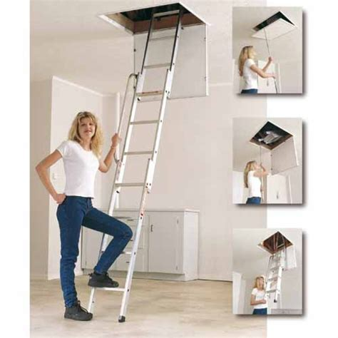 werner aluminium loft ladder 3 section youngman easiway 3 section alloy loft ladder