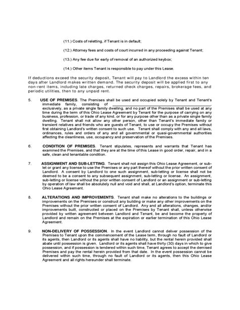 Ohio Residential Lease Agreement Free Download Free Residential Lease Agreement Template Ohio