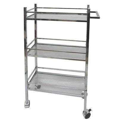 Bathroom Storage Cart Glass Silver Bathroom Storage Cart