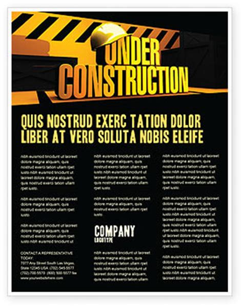 construction flyer templates free closed construction flyer template background in