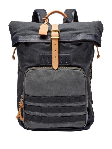 Backpack Leather Grey lyst fossil defender leather blend backpack in gray for