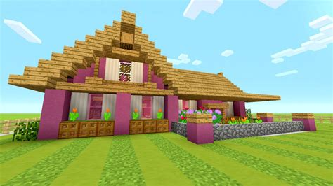 cute minecraft house minecraft tutorial how to make a pink survival house dog house turorial youtube