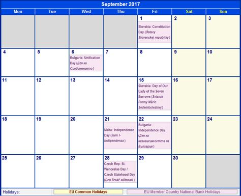 Calendar September 2017 With Holidays Maintenance Schedule Template Schedule Template Free