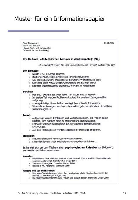 Handout Schreiben Muster dr isa schikorsky wissenschaftliches arbeiten bib1