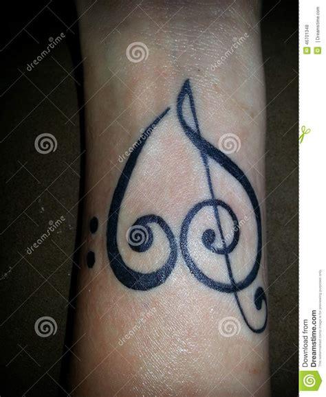 tattooed heart free music download music tattoo stock photo image 46701348