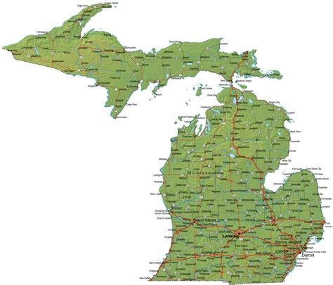 Detailed Search Map Of Michigan Michigan Maps Mapsof Net