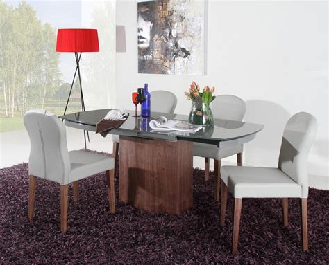 swing dining table dreamfurniture com swing modern grey walnut veneer dining table