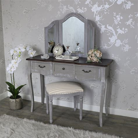 grey mirrored dressing table large grey dressing table triple mirror and padded stool