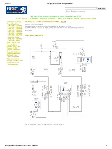 peugeot 307 complete wiring diagrams