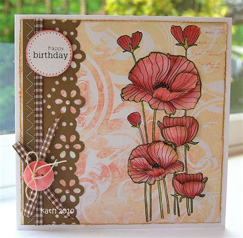 Handmade Picture - delicate blossoms poppy images handmade birthday cards