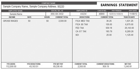 sle of pay stub template free sle pay stub template and form for your business