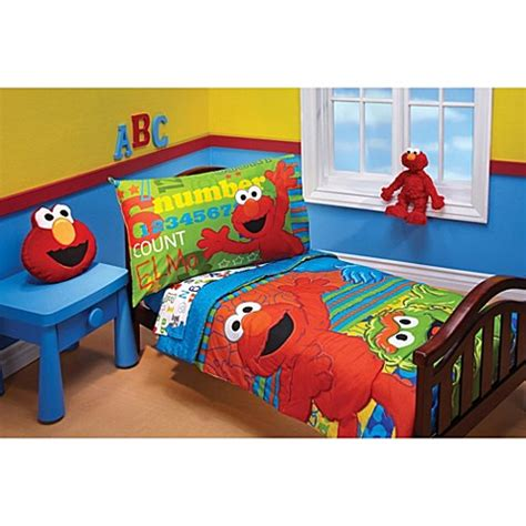 elmo bathroom set sesame street quot abc 123 quot 4 piece toddler bedding set