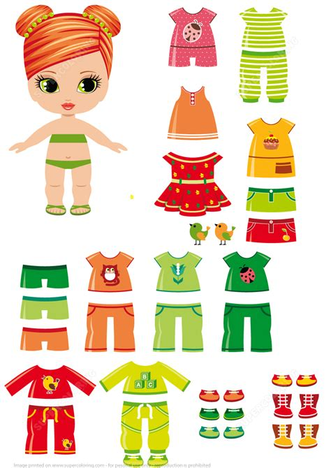 paper dress up dolls template paper doll with summer clothes free printable