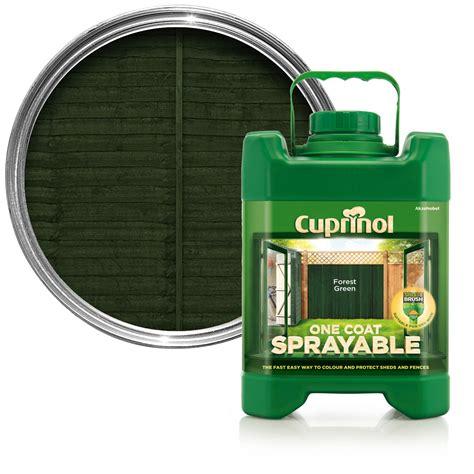 cuprinol  coat sprayable forest green shed fence