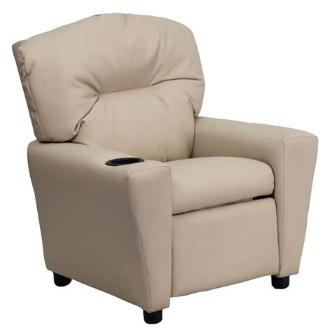 recliner with cup holder sale beige kids recliner with cup holder from renegade