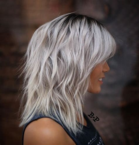 shoulder length hairstyles gray hair shoulder length wavy messy gray ice blonde hair with