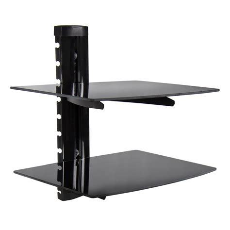 Wall Mount Shelf For Cable Box by 2 Tier Dual Glass Shelf Wall Mount Bracket Tv