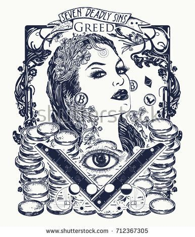 greed tattoo designs greed seven deadly sins tshirt stock vector