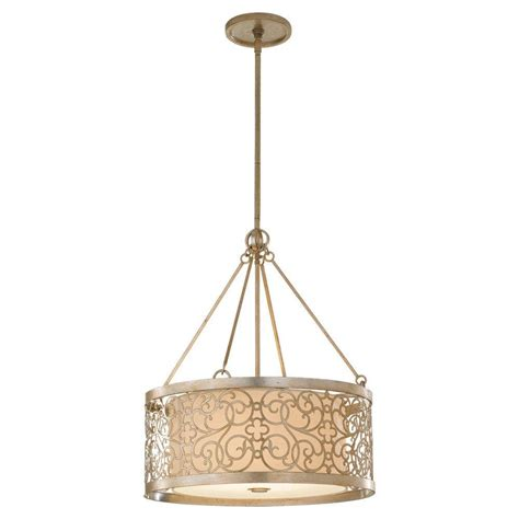 Silver Light Pendant Feiss Arabesque 4 Light Silver Leaf Patina Shade Pendant F2537 4slp The Home Depot