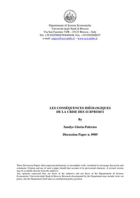 (PDF) Les conséquences idéologiques de la crise des subprimes