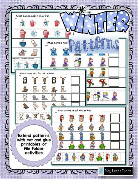 pattern analysis aba winter patterns kindergarten animals and snow days