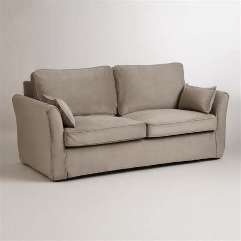 loose fit slipcovers for sofas mink brown velvet loose fit luxe sofa slipcover world market