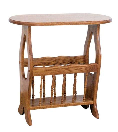Magazine Rack End Table by Amish Oval Hickory End Table With Magazine Rack