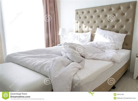 messy bed messy bedding sheets and pillow royalty free stock image