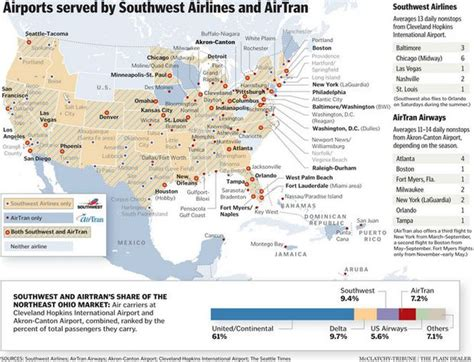 airports served by southwest airlines and airtran cleveland