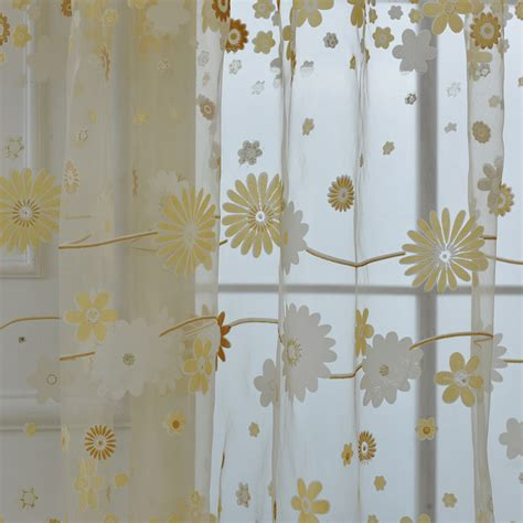 floral window curtains floral tulle voile door room window curtain drape panel