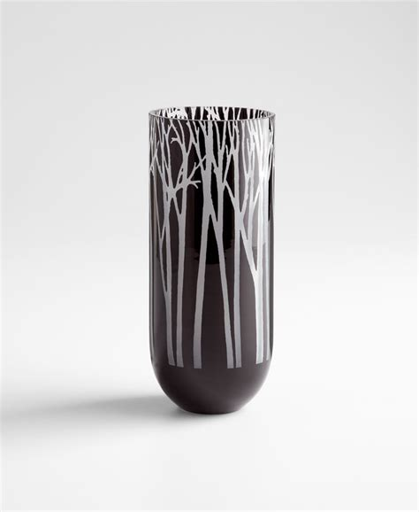 Black Glass Vase by Large Forest Black Glass Vase By Cyan Design