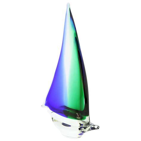 glass sailboat murano glass sailboat green blue glass sailboat sculpture