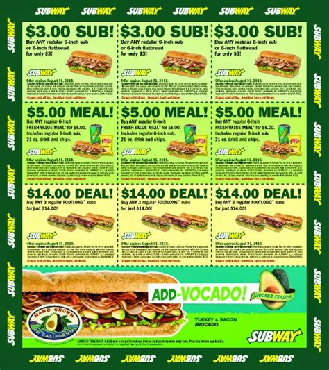 printable restaurant coupons august 2015 subway coupons december 2014