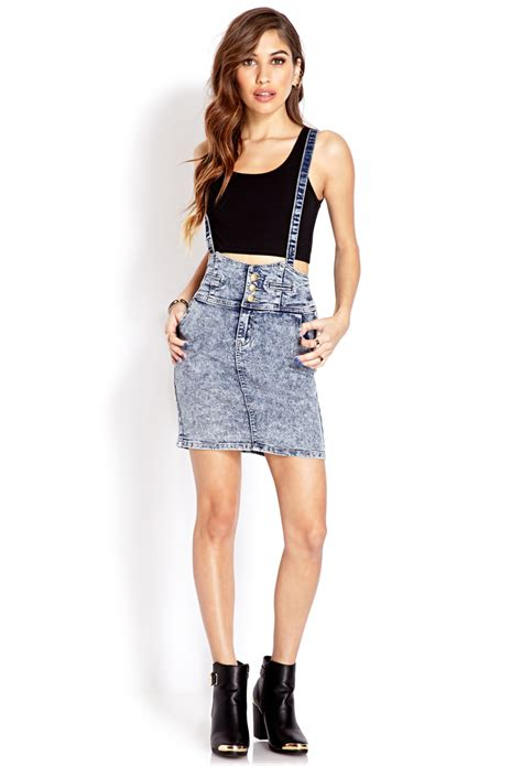 Line Skirt Overall Terusan Jumpsuit W315 forever 21 acid wash overall skirt in blue lyst