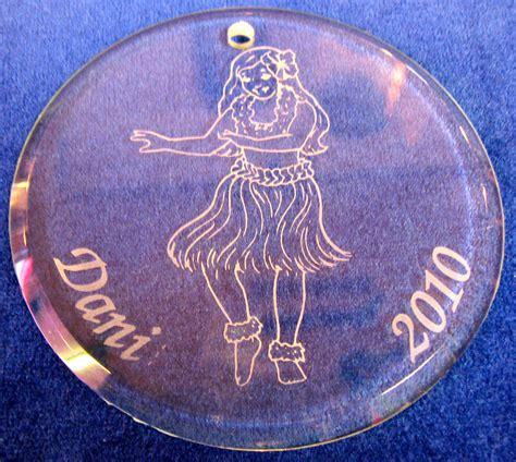 hawaiian ornaments personalized custom engraved personalized glass tree ornaments