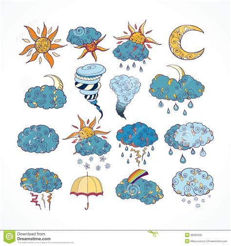 free doodle design elements doodle weather forecast design elements stock vector