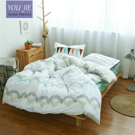 100 cotton stripes wave bedding set green bed sheet custom