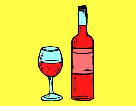 imagenes uñas vino dibujo de botella de vino y copa pintado por en dibujos