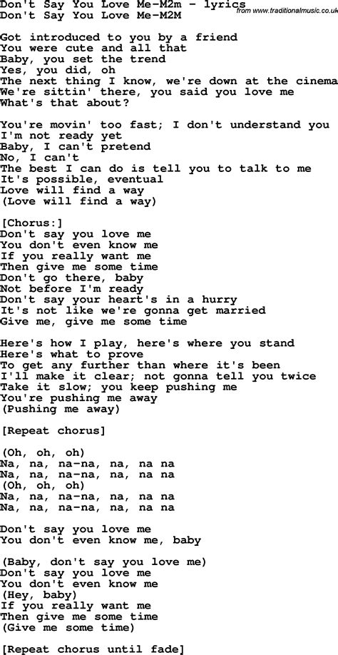 testo i you song lyrics for don t say you me m2m