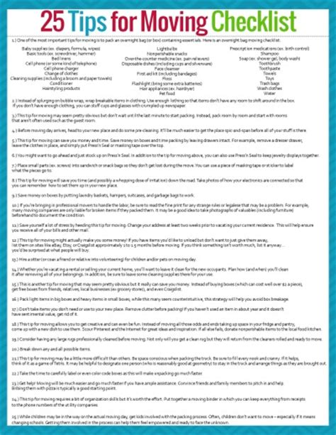 printable moving to do list tips for moving plus a free printable moving checklist